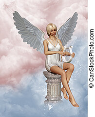 Angels song - an angel playing a harp in heaven