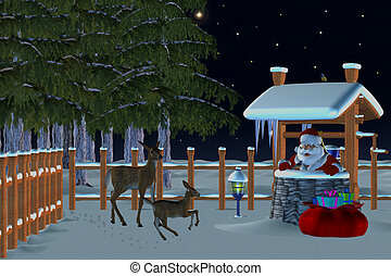 christmas in the forest - Santa Claus also comes to the...