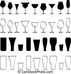 Beverage Glasse - illustration of set of glasses of...