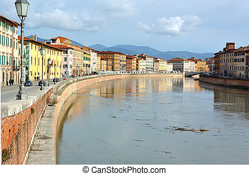 Pisa and the river Arno - A view of Pisa along the riverside