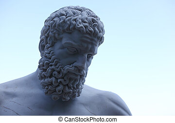 statue zeus in blue sky