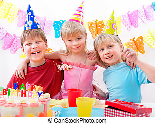 birthday party - kids celebrating birthday party