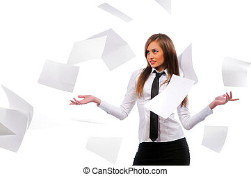 Beautiful girl scatters documents. White background,...