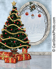 Christmastime 2 - festively decorated room with Christmas...