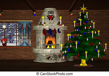 Christmasroom 2 - festively decorated room with a fireplace