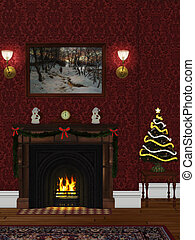 christmasroom - festively decorated room with a fireplace