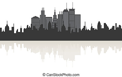 Big city skyline with reflection