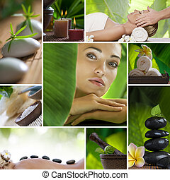 spa theme - Spa theme photo collage composed of different...