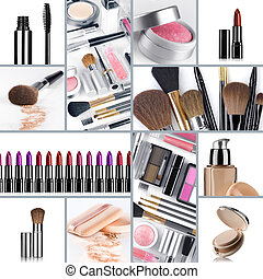 collage - Close up view of cosmetic theme objects on white...