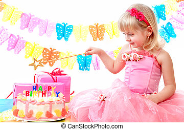 irthday party - little princess and her birthday cake