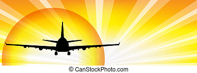 Plane And Sun - Airplane Silhouette Over Sunset, Vector...