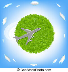 Green Planet And Plane