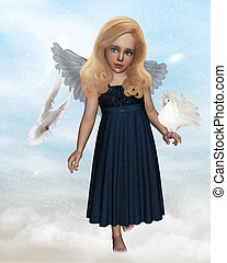 Angel - a little angel of peace with two doves