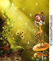 The flautist - a little fairy playing the flute