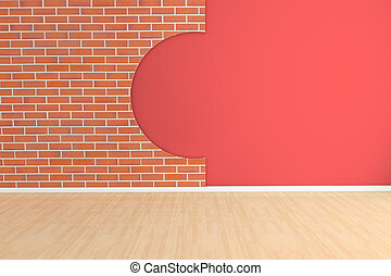 3d empty room - 3d rendered empty room with brick wall