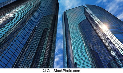 Modern reflective office skyscrapers
