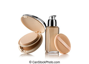 powder - Close up view of Cosmetic liquid foundation with...