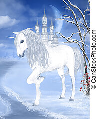 fantasyworld - a white unicorn in a fantastic winter...
