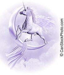 flying Pegasus - a purple flying Pegasus