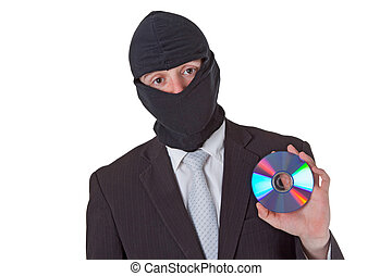 Thief holding a data disk