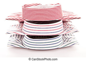 Three colorful shirts - Collars of three colorful mens...