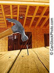 nuevo, hogar, construcción, martillo, clavo