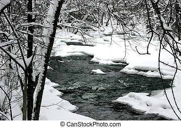 Frosted river bend - Small rapids on a river bend after a...