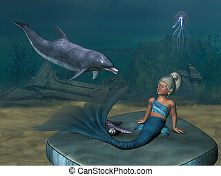 little Mermaid 4 - a little Mermaid with a dolphin