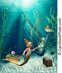 Little Mermaid 2 - a little mermaid in the sea playing with...