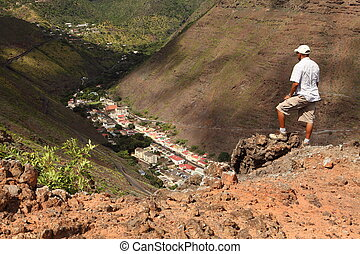 Hiker above Jamestown St Helena - Stopping to admire the...