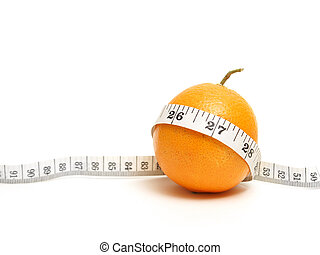 Healthy Eating - A ripe citrus fruit with a mesuring tape to...