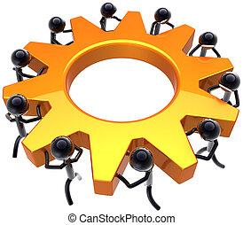 Teamwork business process concept - Business teamwork...