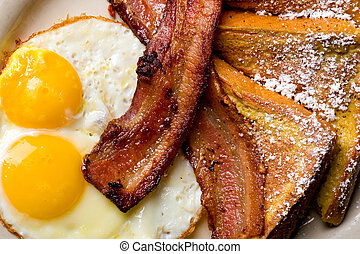 Breakfast Plate - French Toast, bacon and eggs for breakfast