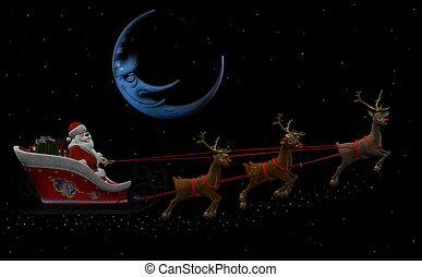 Santa Claus and his Reindeers 2 - Santa Claus is flying in...