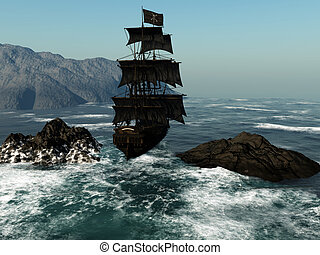 Pirate Ship 1 - a pirate ship sails through the coastal