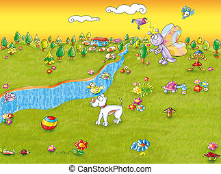 campaign with river - country with river, dog and butterfly...