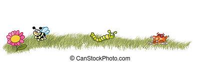 little frame with grass, bee, caterpillar, mole