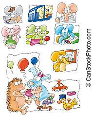 elefante, Porco-espinho,  rab, colorido
