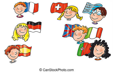 children of different nations with flag