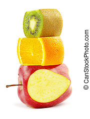 fruit mix  - Fruit mix isolated on white