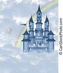 Dream castle 2 - a blue fairy tale castle in the clouds