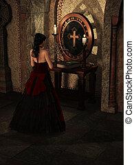 Praying woman - a beautiful woman praying in a church