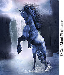 Unicorn 4 - a blue Unicorn wading in the water
