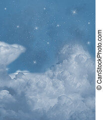 Stars sky - a dreamy night sky covered by clouds