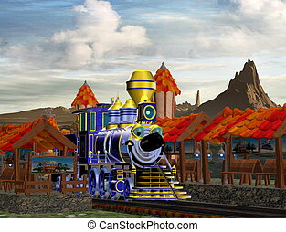Toon Land - a cartoon locomotive pulls into the train...