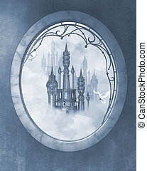 Dream castle - a blue fairy tale castle in the clouds