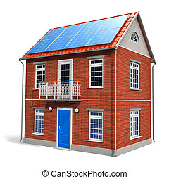 House with solar batteries