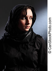 Peace and quiet for young religious woman in hijab -...