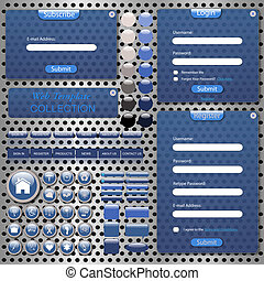 Image of a colorful, blue web template with forms, bars, buttons, icons and chat bubbles on a metallic background.