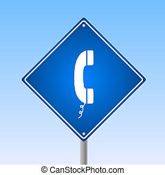 Image of a phone icon on a road sign with a blue sky background.